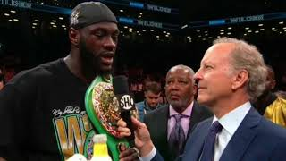 """AJ A RISK TO MY LIFE!""- DEONTAY WILDER TALKS ANXIOUSLY ABOUT ANTHONY JOSHUA IN POST FIGHT INTERVIEW"