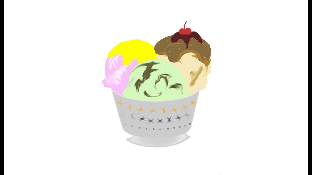 How to draw an ice cream bowl - YouTube