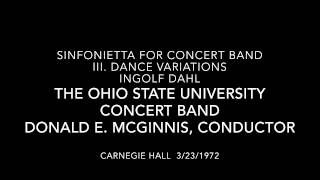 """Sinfonietta for Concert Band - III. Dance Variations"" by Ingolf Dahl"