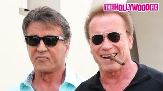 Arnold Schwarzenegger & Sylvester Stallone Have Lunch In Beverly Hills 5.9.15 - TheHollywoodFix.com