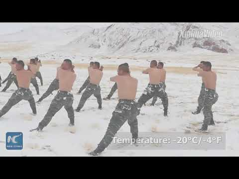"""Winter boot camp on """"Roof of World""""! Chinese armed police receive training in Tibet"""