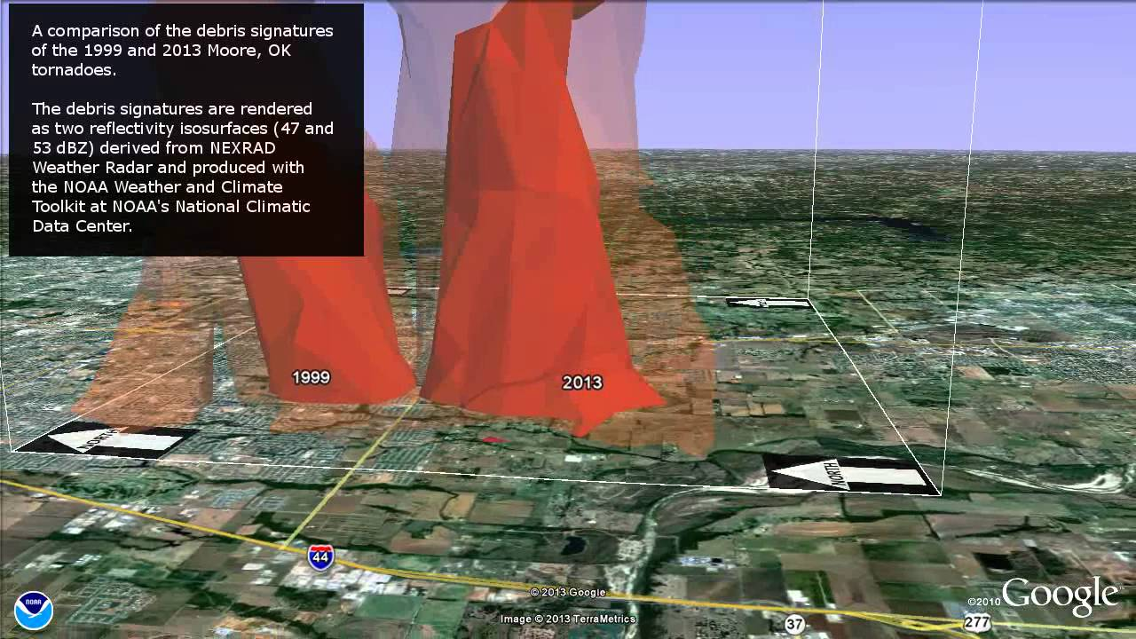 Moore Tornadoes 1999/2013 (NOAA animation - detailed iso comparison)
