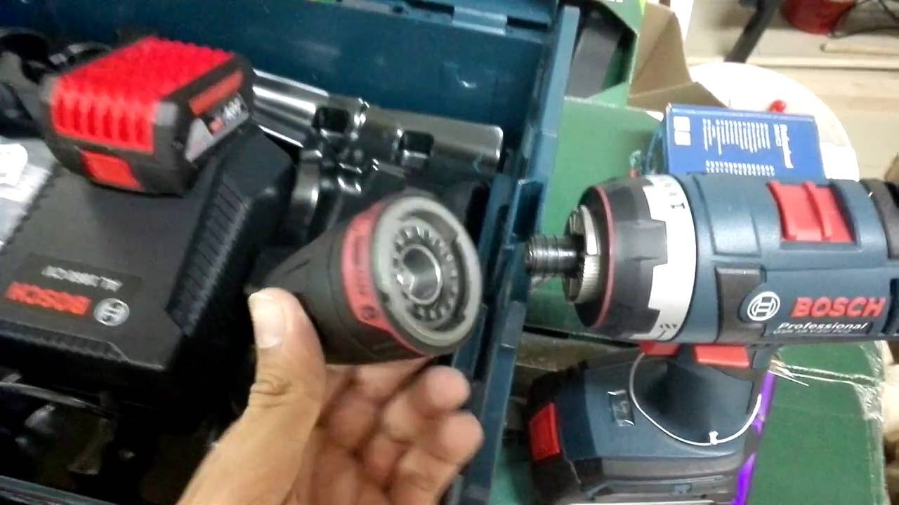 unpacking unboxing cordless drill drivers bosch gsr 18 v ec fc2 professional 06019e1171 youtube. Black Bedroom Furniture Sets. Home Design Ideas
