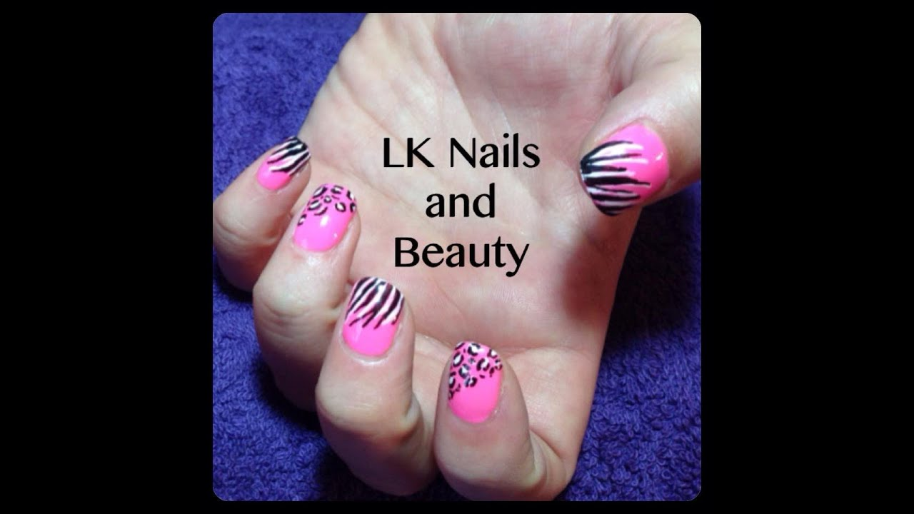 Bright And Wild Nail Art Tutorial By Hand Leopard And Zebra Youtube