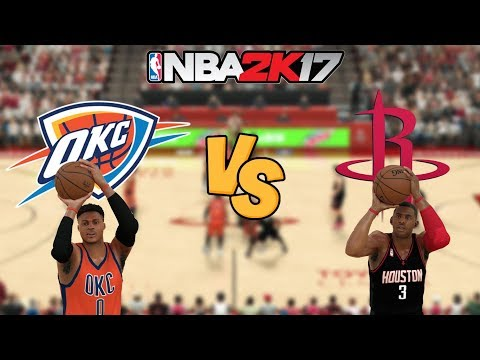 NBA 2K17 - Oklahoma City Thunder (WESTBROOK!) vs. Houston Rockets - Full Gameplay (Updated Rosters)