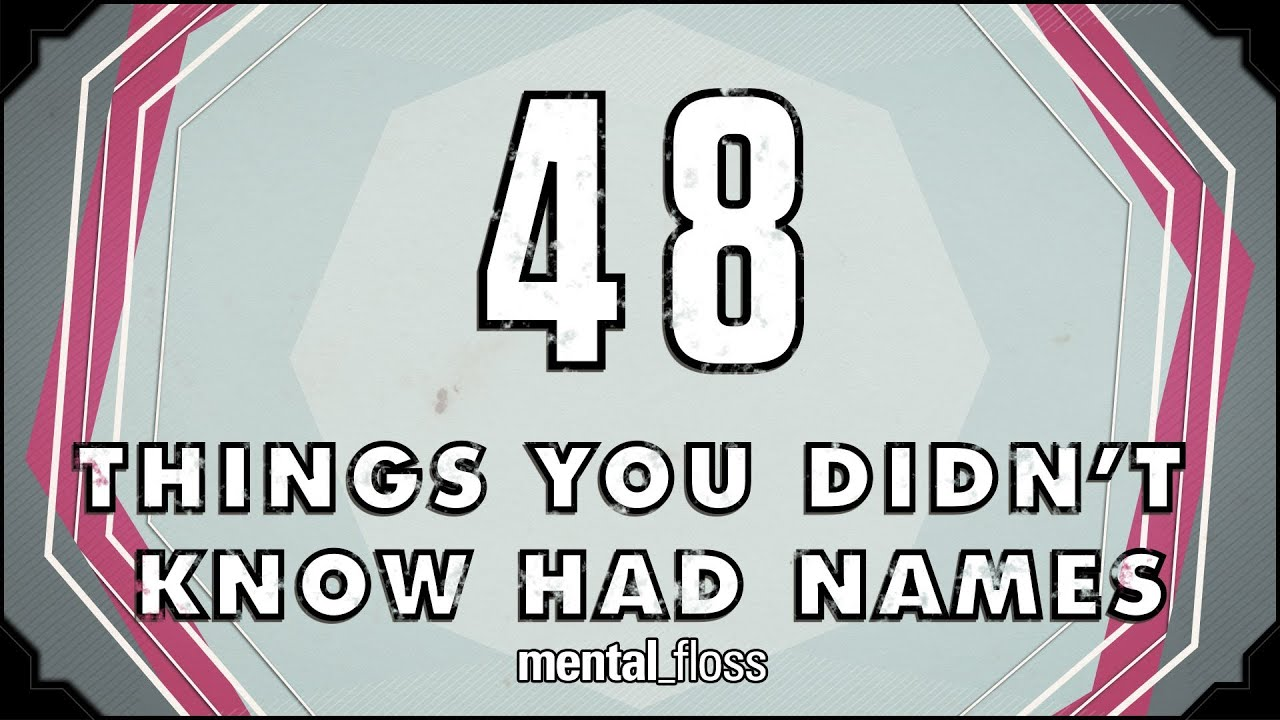 Things Names: 48 Names For Things You Didn't Know Had Names