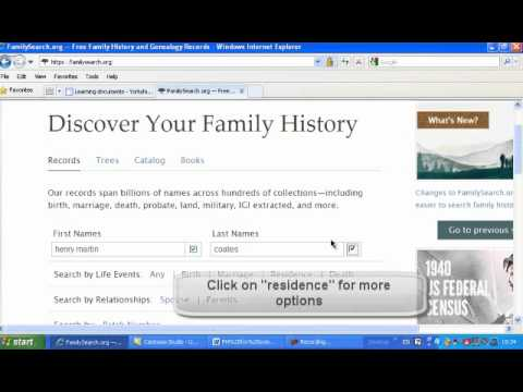 Searching for family history using FamilySearch org