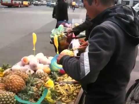 Carving pineapple in Beijing