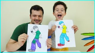 Cartoon Characters 3 Marker Challenge with Yusuf and Dad | Eğlenceli Çocuk Videoları