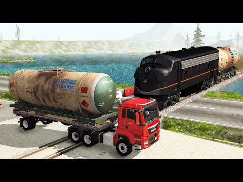 Railway Сrossing Train Сrashes #2 -Beamng drive