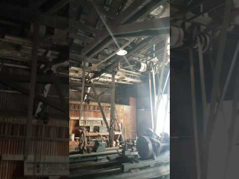 Better View of Lineshafts & Belts Running Two Lathes at Knight Foundry