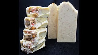 MAKING AND CUTTING CHAMOMILE AND MILK HANDMADE COLD PROCESS SOAP