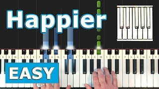 Marshmello Ft. Bastille Happier - EASY Piano Tutorial - Sheet Music Synthesia.mp3