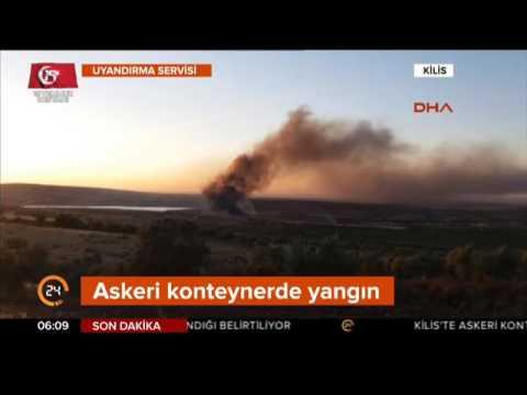 Kilis'te askeri konteyner içinde yangın