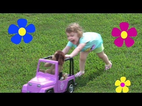 Cute Toddler Genevieve Plays with her new Toy Car! Lots of Outdoors Fun!