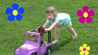 Cute Toddler Genevieve Plays with her new Toy Car at the Park!