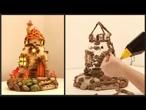 ❣DIY Fairy House Lamp Using Plastic Bottles and Pebbles❣