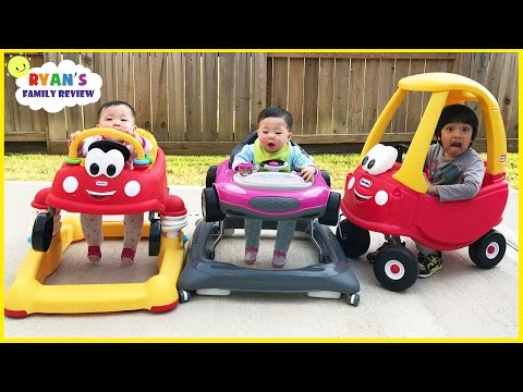 Thumbnail: Babies and Kids playtime driving Little Tikes Cozy Coupe Car with Ryan's Family Review