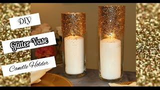 DIY: How to make a Glitter Vase Candle Holder | Wedding Centerpieces | Headtable | Pillar Candles