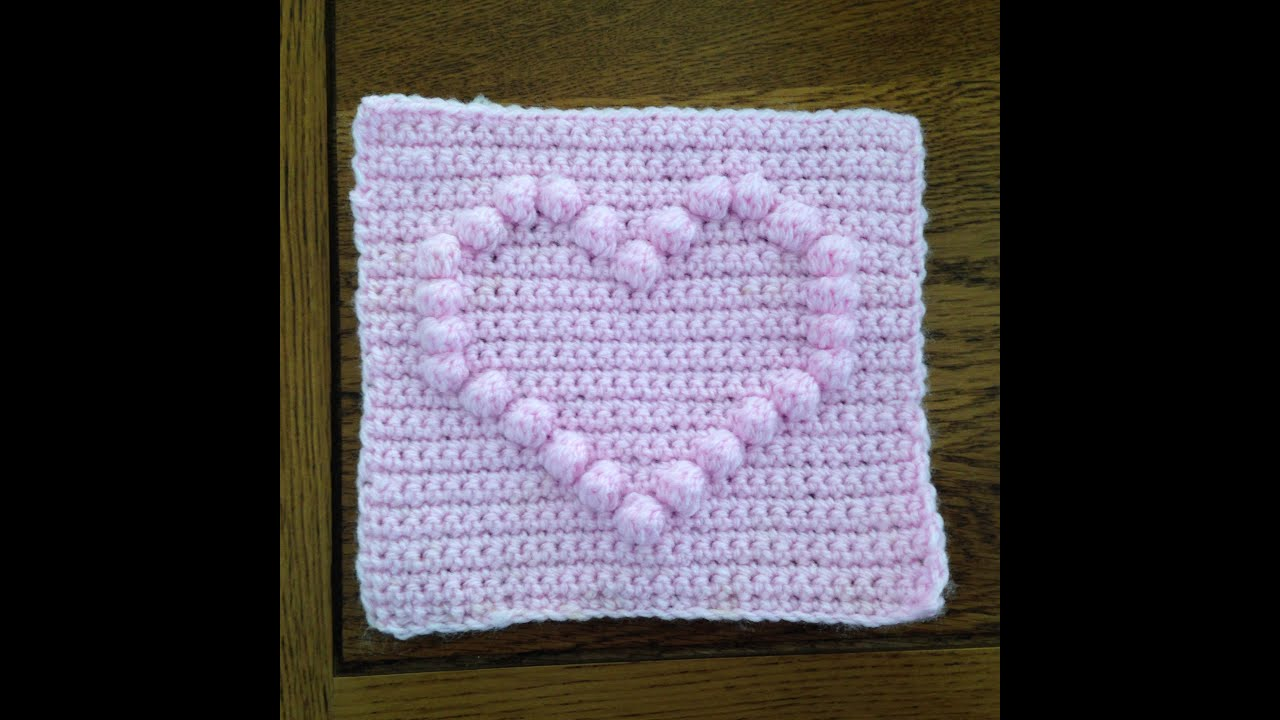 How To Crochet A Square With Heart Bobble Chart Youtube