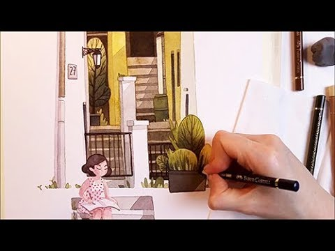 """Watercolor Illustration """"Sunny Backyard"""" for Escoda timelapse work in progress painting by Iraville"""