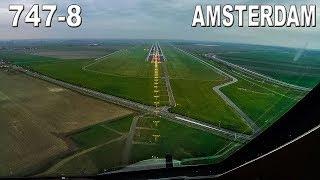 COCKPIT View BOEING 747-8 into Amsterdam SCHIPHOL