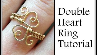 Easy Jewelry Tutorial : Double Heart Ring Wire Wrapped