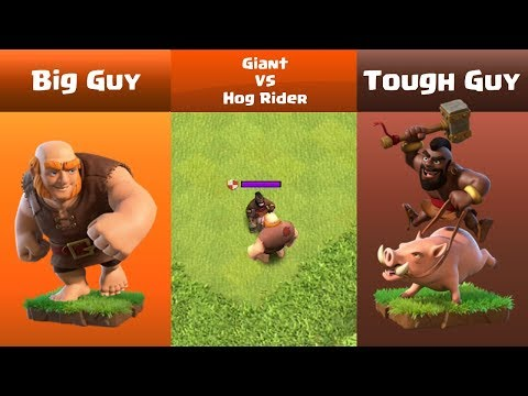 Every Level Giant VS Every Level Hog Rider | Clash Of Clans