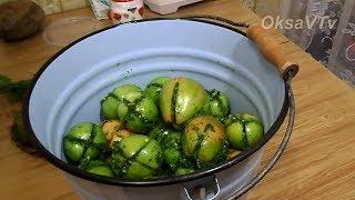 Острые зеленые помидоры фаршированные зеленью и чесноком. Spicy green tomatoes.