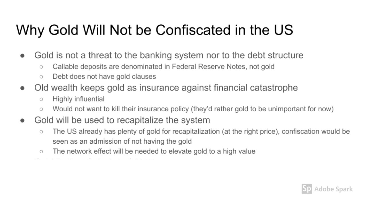 Why Gold Will Not be Confiscated, 23 Jun 2020