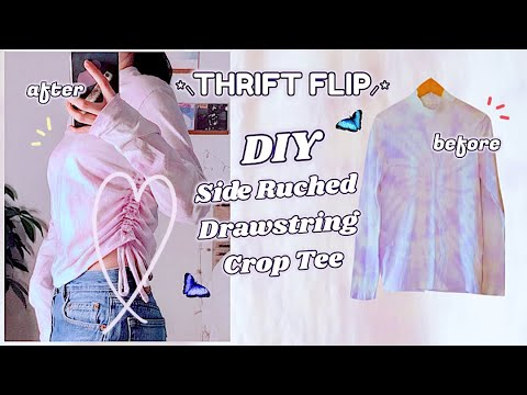 [VIDEO] - Refashion DIY Side Ruched Drawstring Crop Top・THRIFT FLIP Reuse Old T-Shirt 服リメイク COSTURAㅣmadebyaya 2