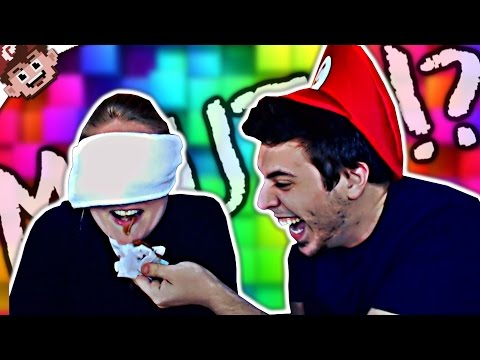 WHAT'S IN MY MOUTH CHALLENGE?! (Blind Food Taste Challenge)