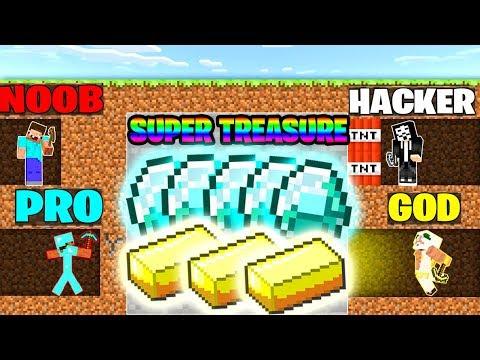 Minecraft Battle : NOOB Vs PRO Vs HACKER Vs GOD : SUPER TREASURE MINING Challenge In Minecraft