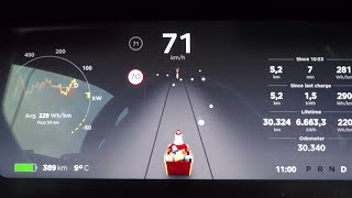 Tesla Xmas easter egg, both the funny and not funny one (2017.50.2 update required)