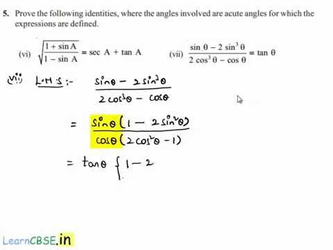 CBSE Class 10 maths NCERT solutions Chapter 8 Trigonometry Exercise ...
