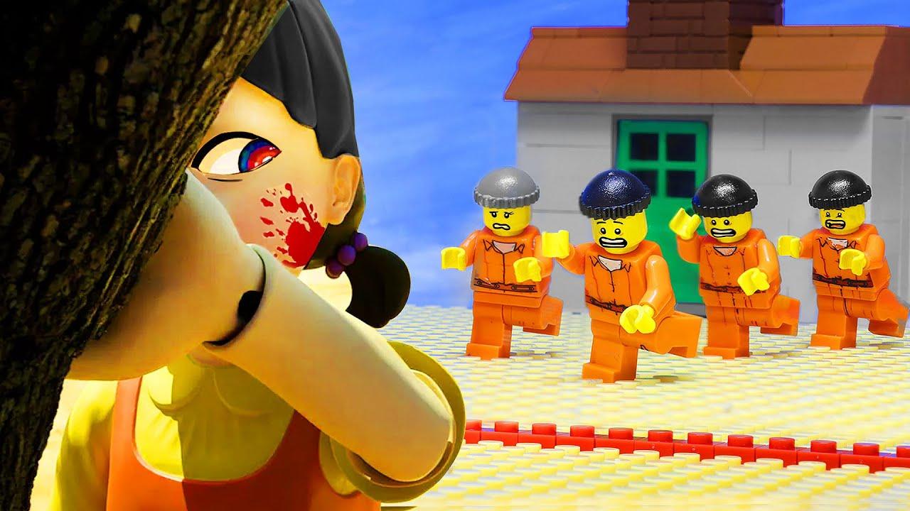 LEGO SQUID GAME! Red Light Green Light Parody Prison Break   LEGO Land