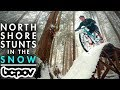 watch he video of RIDING NORTH SHORE STUNTS IN THE SNOW!   Riding Mt. Fromme in winter conditions!