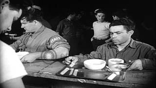 Italian POWs going through mess lines aboard the USS Wasp (CVS-18) underway in th...HD Stock Footage