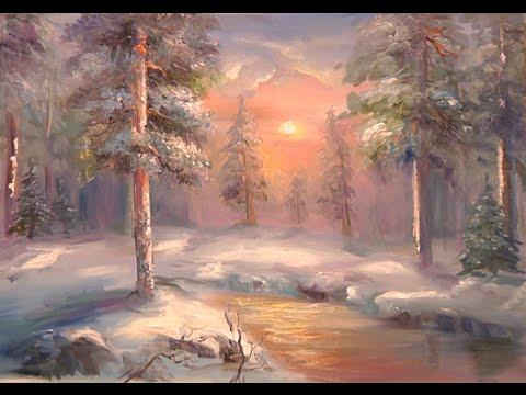 Видео урок Как нарисовать пейзаж зимний лес
