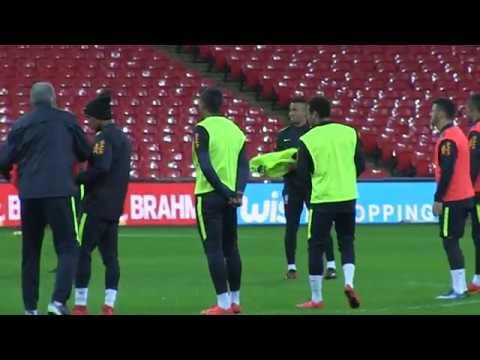 Brazil train at Wembley ahead of England clash