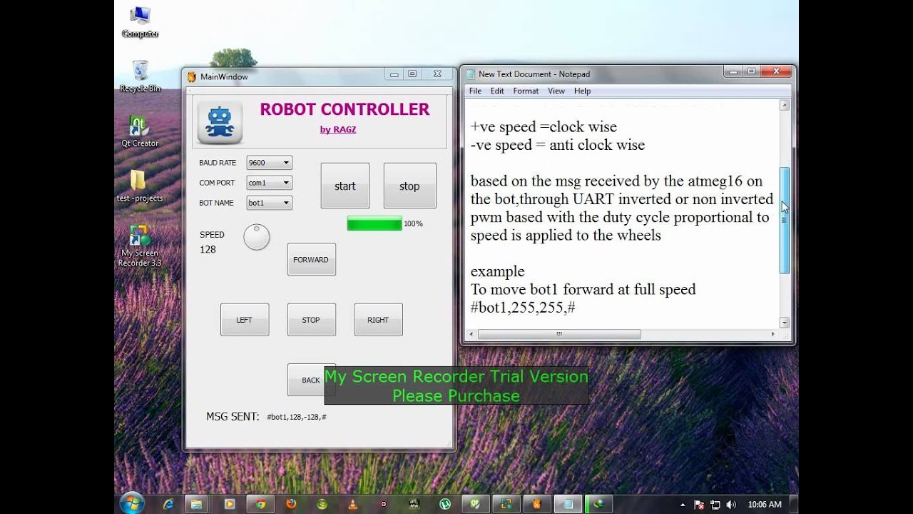 Qt application to control a Robot with the help of serial port