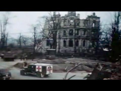allied convoy enters city of duren germany in 1945 youtube