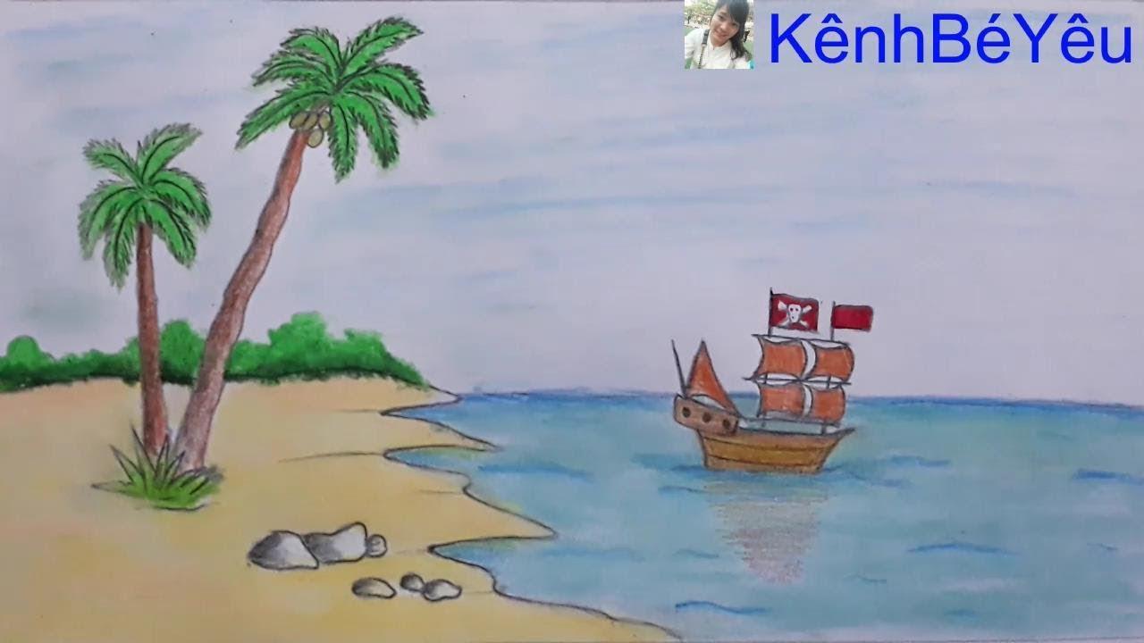 Vẽ cảnh biển yên bình – Draw peaceful seascape.