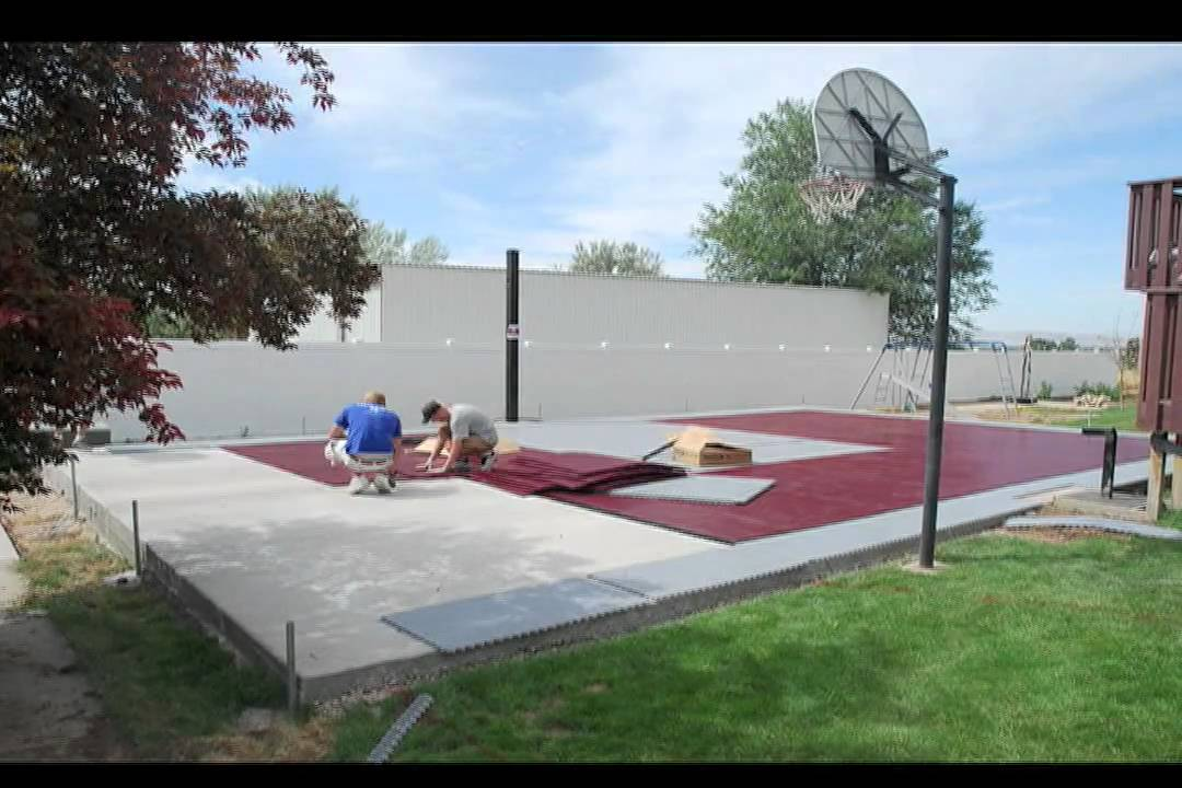 Good SnapSports®  Installs A Outdoor Basketball Court   Home Game Court   Time  Lapse   YouTube