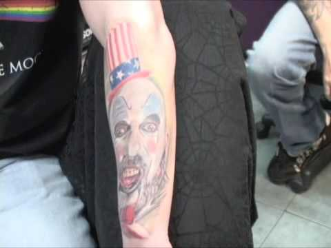 HAWK DEMO TATTOO Horror Sleeve Part 1: Captain Spaulding (House of 1000 Corpses)