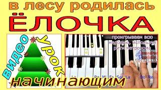 В лесу родилась Ёлочка~Играть пианино-синтезаторе~урок пошагово(текст)