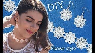 DIY: beaded wedding choker flower ✿ style jewelry / Свадебный набор из бисера в цветочном стиле