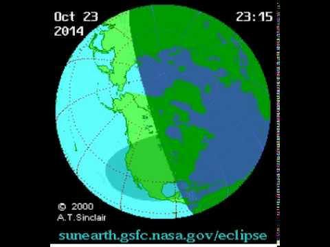 October 23 2014 partial solar eclipse path loop (Times in UTC)