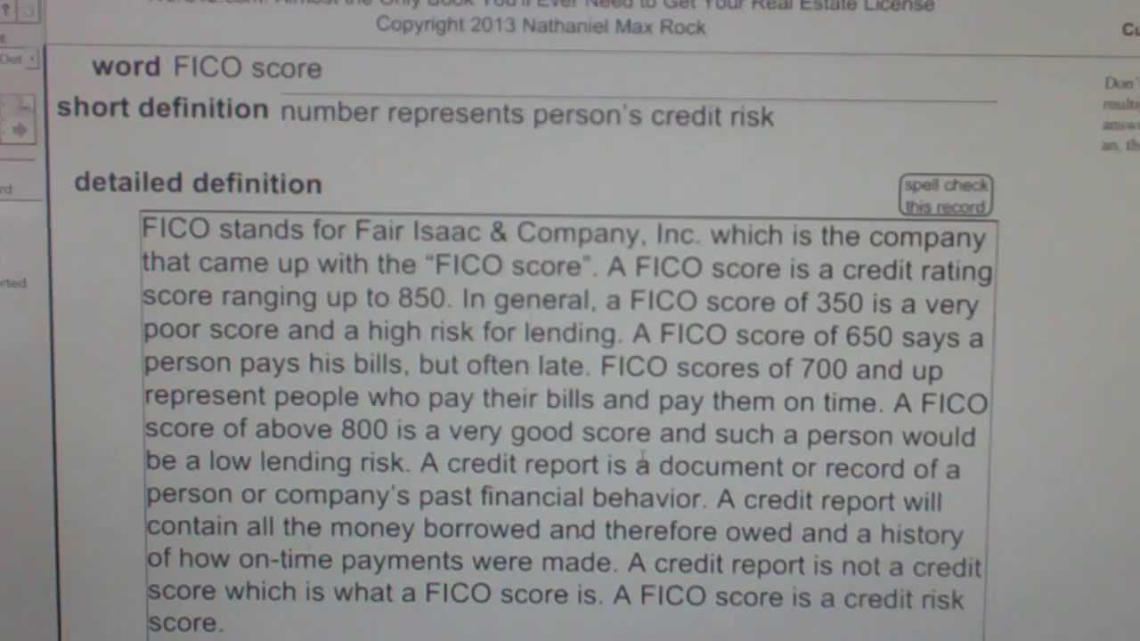FICO score CA Real Estate License Exam Top Pass Words