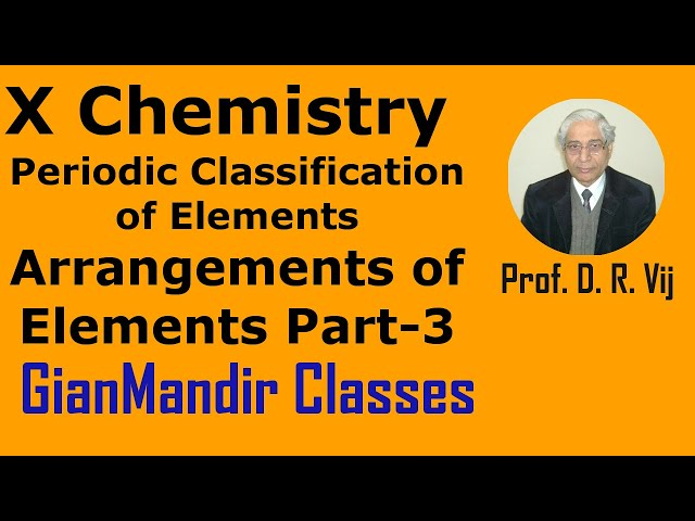 X Chemistry | Periodic Classification of Elements | Arrangements of Elements Part-3 by Gaurav Sir